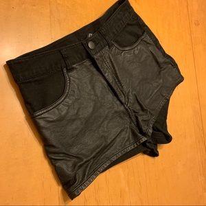 Half faux leather/Half denim high waisted shorts